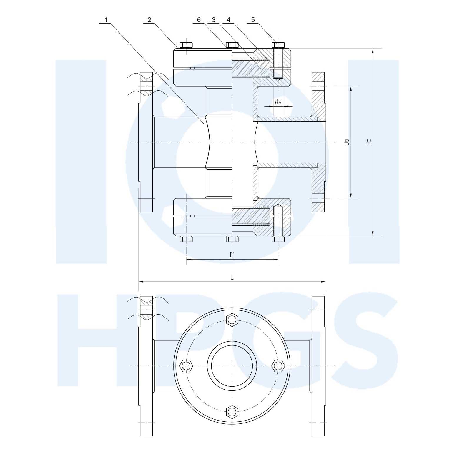 HPGS wziernik przepływowy ze szkłem płaskim na str